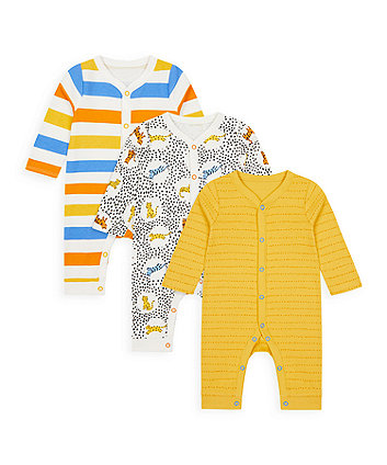 Mothercare Leopard, Stripe And Mustard Footless Sleepsuits - 3 Pack