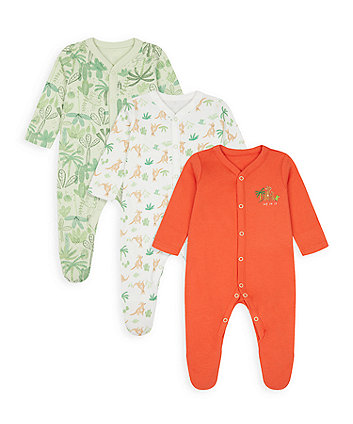 Mothercare Jump For Joy Sleepsuits - 3 Pack