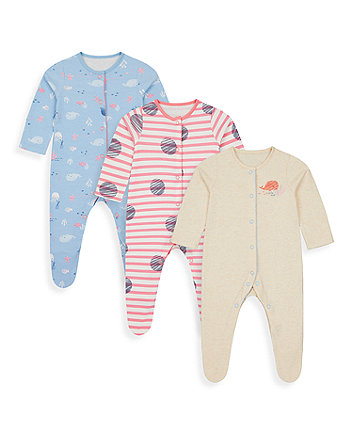 Mothercare Under The Sea Sleepsuits - 3 Pack