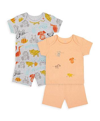 Mothercare Animal Friends Shortie Pyjamas - 2 Pack