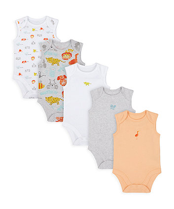 Mothercare Animal Friends Bodysuits - 5 Pack