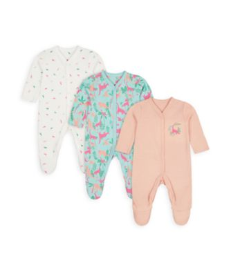 Mothercare Girls Floral Dino Sleepsuits - 3 Pack