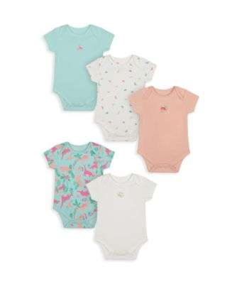 Mothercare Girls Floral Dino Short Sleeve Bodysuits - 5 Pack