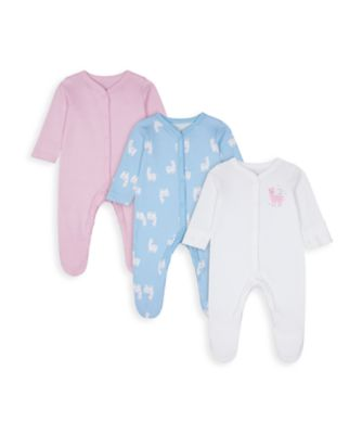 Mothercare Girls Little Llama Sleepsuits - 3 Pack