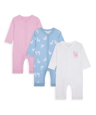Mothercare Girls Little Llama Footless Sleepsuits - 3 Pack