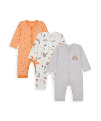 Mothercare Boys Animal Alphabet Footless Sleepsuits - 3 Pack