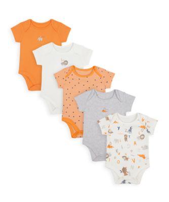 Mothercare Boys Animal Alphabet Short Sleeve Bodysuits - 5 Pack