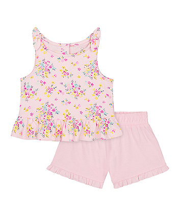 Mothercare Floral Vest T-Shirt And Pink Shorts Set