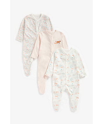 Mothercare Little Horse Sleepsuits - 3 Pack