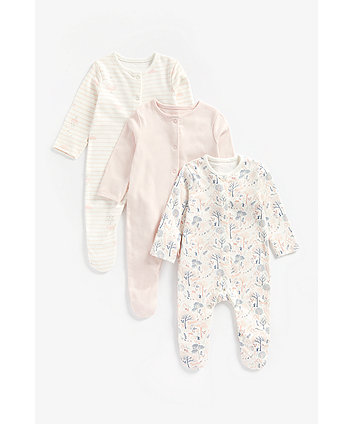 Mothercare Cloud, Pink And Woodland Organic Cotton Sleepsuits - 3 Pack