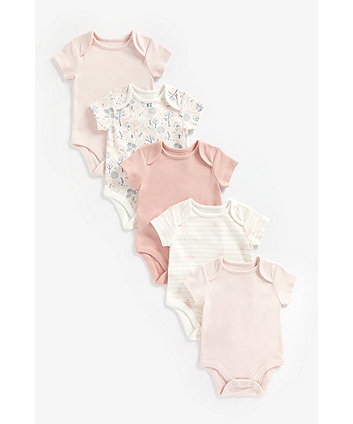 Mothercare Pink Organic-Cotton Bodysuits - 5 Pack