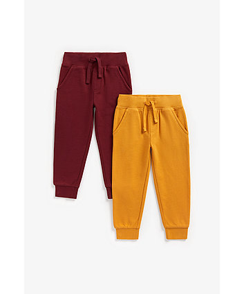 Mothercare Burgundy And Mustard Joggers - 2 Pack