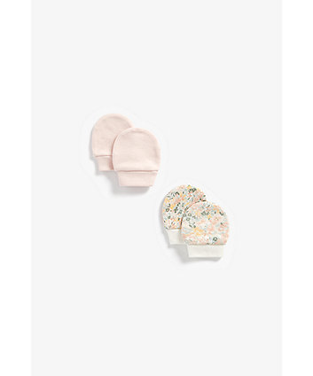 Mothercare Pink And Floral Cotton Mitts - 2 Pack