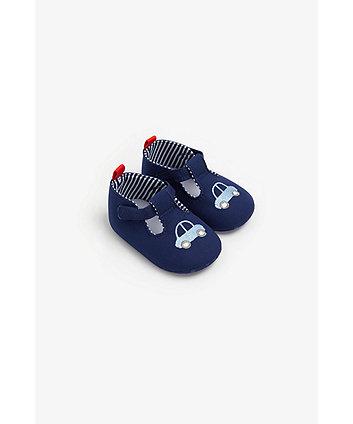 Mothercare Navy Car T-Bar Pram Shoes