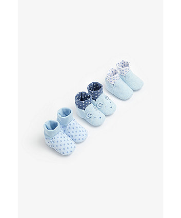 Mothercare Blue Bear Sock Top Baby Booties - 3 Pack