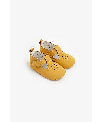 Mothercare Mustard T-Bar Pram Shoes