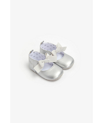 Mothercare Metallic Heart And Bow Pram Shoes