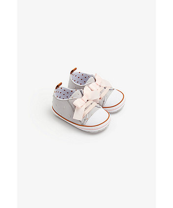 Mothercare Ditsy Spot Pram Trainers With Bows