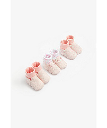 Mothercare Pink Bunny Sock Top Baby Booties - 3 Pack