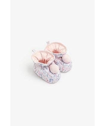 Mothercare Floral Baby Booties With Pom Pom