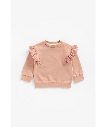 Mothercare Rose Broderie Frill Sweat Top
