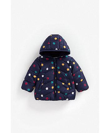 Mothercare Navy Spot Fleece-Lined Jacket