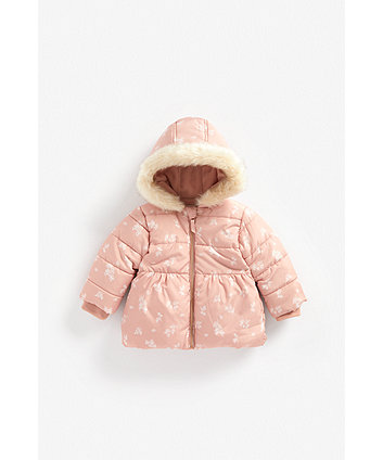 Mothercare Pink Floral Padded Parka Coat