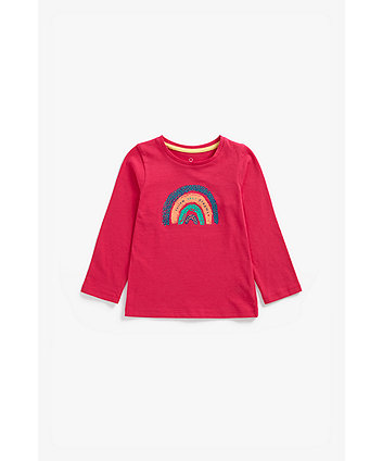 Mothercare Pink Rainbow Long-Sleeved T-Shirt