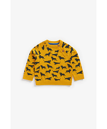 Mothercare Mustard Leopard Knitted Jumper