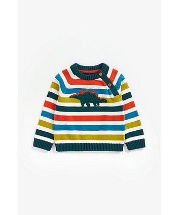 Mothercare Striped Dino Knitted Jumper