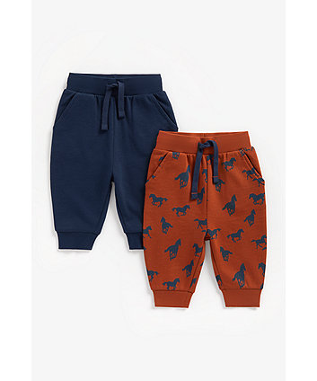 Mothercare Navy And Brown Horse Joggers - 2 Pack